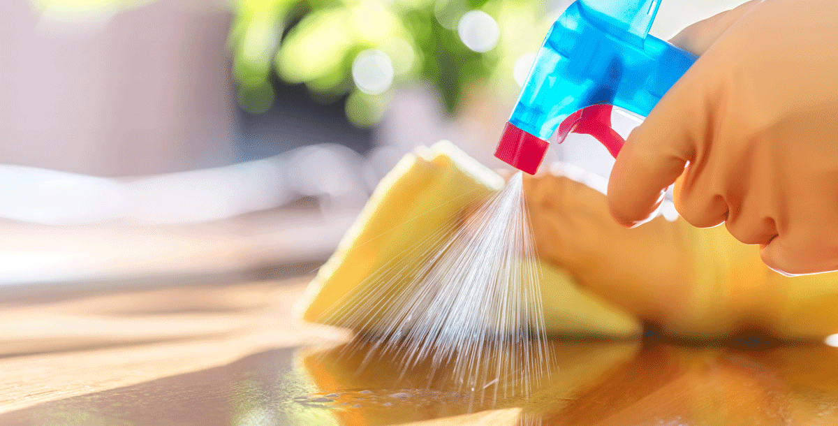 Use gloves while cleaning and disinfecting to prevent spread of COVID-19